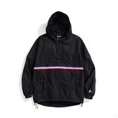【買一送一】Y.A.S X Challenge聯名款 織帶連帽半開襟風衣外套-藍白紅