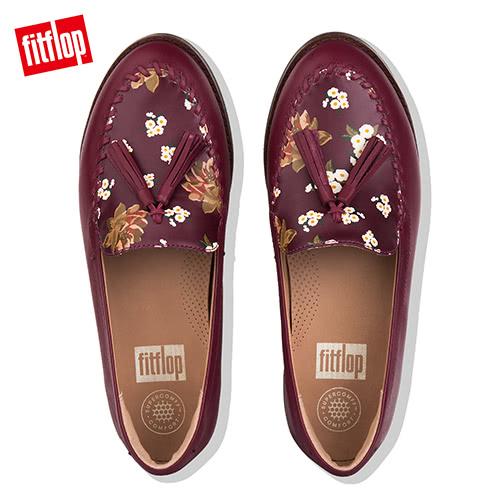 超值魅力精選特惠【FitFlop】PAIGE DARK FLORAL MOCCASIN LEATHER LOAFERS浪漫印花樂福鞋(梅紅色)