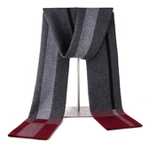 羊毛圍巾-格子條紋冬季針織男披肩3色73wh4【時尚巴黎】