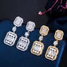 【RJ New York】S925銀幾何方形滿鑽垂墜耳環(2色可選)