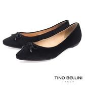 Tino Bellini巴西進口復古奢華絨布平底娃娃鞋_黑 B79235 歐洲進口款