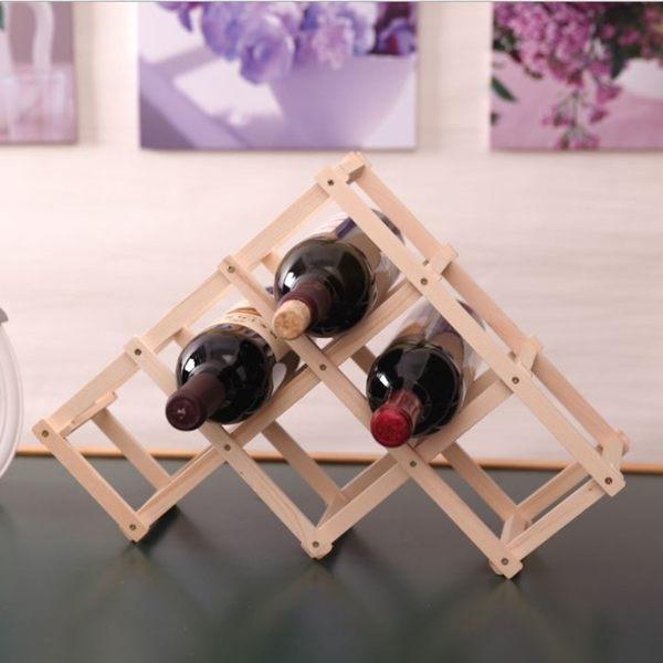 [拉拉百貨] 原木 6瓶裝 折疊紅酒架 簡易紅酒架 酒瓶架 收納架 居家酒瓶架