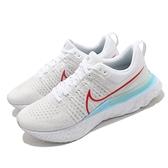 Nike 慢跑鞋 React Infinity Run FK 2 白 藍 紅 針織 男鞋【ACS】 CT2357-102