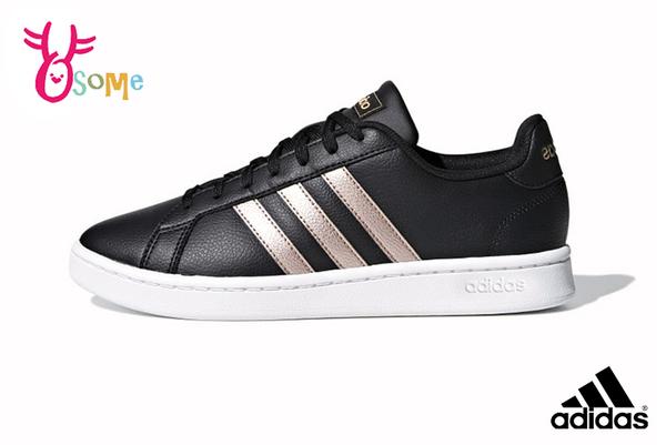 adidas GRAND COURT 板鞋 成人女款 經典三線造型 休閒鞋 休閒運動鞋 R9319#黑金◆OSOME奧森鞋業