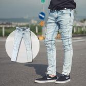 牛仔褲 造型膝蓋車縫割破淺色合身牛仔褲【NB0300J】