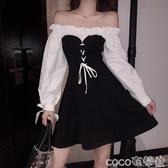 大碼女裝氣質一字肩木耳邊蝴蝶結泡泡袖抽繩系帶洋氣中長款連身裙 618購
