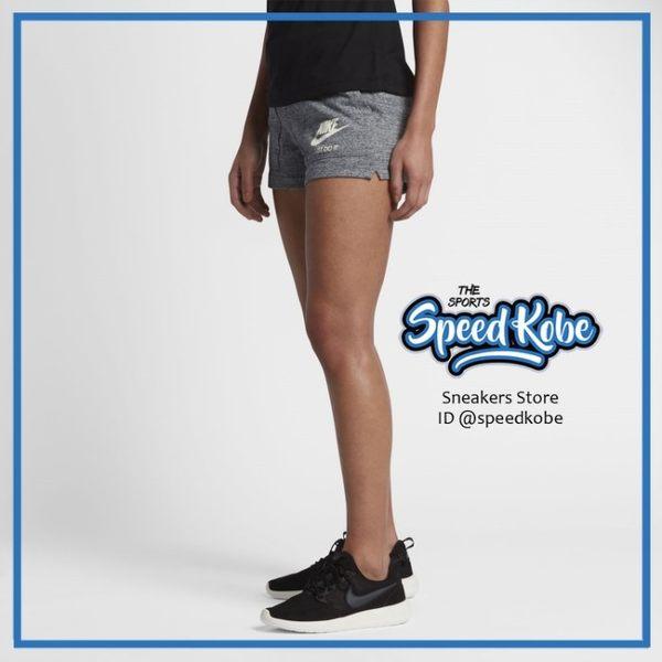 Nike 短褲 Wmns Gym Vintage Short 麻灰雪花 883734-091 -SPEEDKOBE-