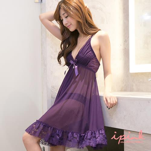 i PINK 歐式典雅 奢華蕾絲網紗連身裙睡衣(紫)