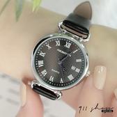Lacuna.REBIRTH品牌。格紋羅馬刻度日期圈環皮革錶帶手錶【ta074】911 SHOP