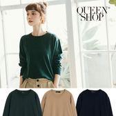 Queen Shop【01012196】圓領素面針織上衣 三色售*現+預*