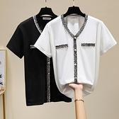 t恤上衣大碼XL-5XL2235夏裝新款胖mm200斤加肥大碼女裝寬松顯瘦V領拼接短袖T恤F5026胖妞衣櫥