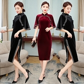 L-4XL大碼洋裝~旗袍蝕骨輕款少女復古中國風長款絲絨氣質禮服改良版連身裙NE53-A胖妹大碼女裝