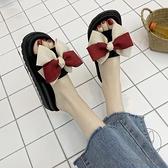 厚底松糕跟韓版一字拖蝴蝶結外穿女涼拖學生拖鞋潮【貼身日記】