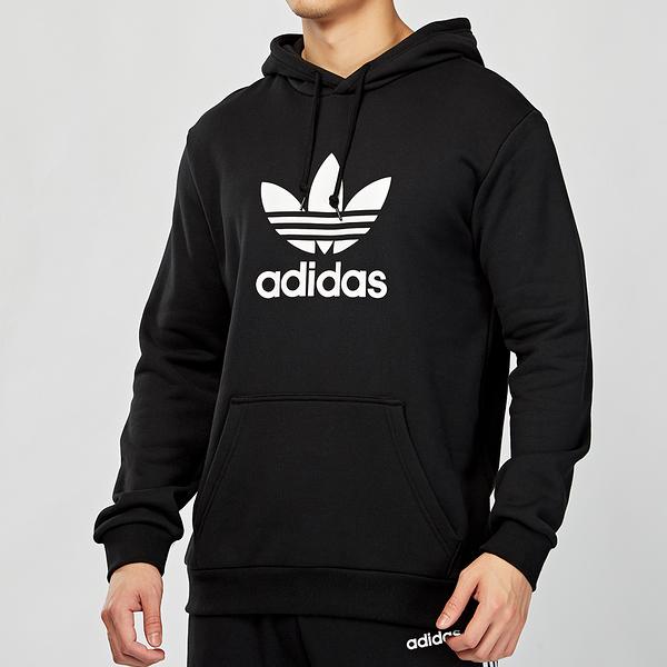 Adidas Originals 男款 黑白 經典 三葉草 連帽 長袖 上衣 DT7964