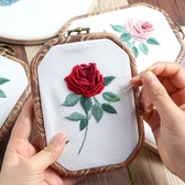 蘇繡diy刺繡歐式玫瑰花手工diy打發時間成人生日禮物材料包立體孕期手工 歐歐