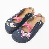 【Jingle】夢幻蝴蝶花園前包後空軟木鞋(牛仔桃大人款)