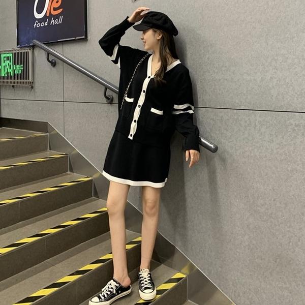 清倉388 韓國風氣質甜美撞色針織套裝長袖裙裝