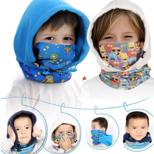 帽子 冬款兒童騎行加厚抓絨帽/護臉圍脖防風 B7C005 AIB小舖