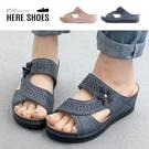 [Here Shoes]前2後5cm涼鞋 舒適軟墊 輕量化氣質百搭立體花朵 皮革楔型厚底涼拖鞋-KN2824