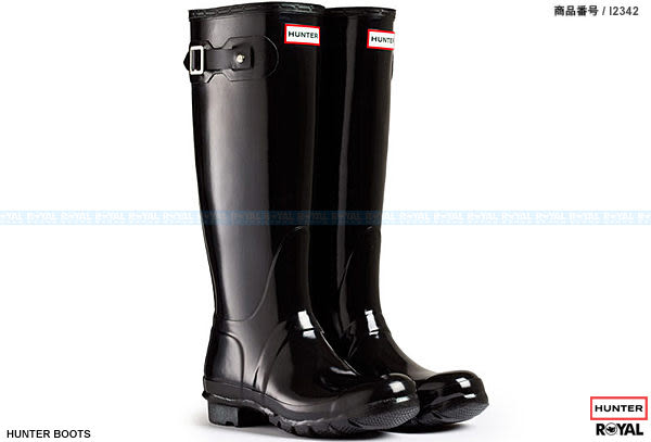 英國 Hunter Boots 新竹皇家 ORIGINAL TALL 黑色 亮面 橡膠 長靴 雨靴 男女款 NO.I2342
