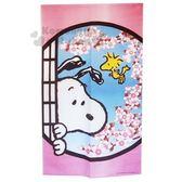 〔小禮堂〕史努比 日製棉麻長門簾《粉藍.櫻花》85x150cm.窗簾 4589928-14984