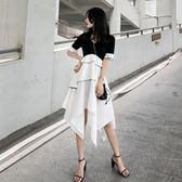 設計感百搭中長款小清新黑白不規則拼接復古短袖套頭復古連衣裙女