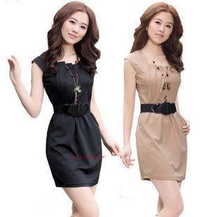 夏裝新款褶皺設計淑女修身連衣裙(配腰帶)