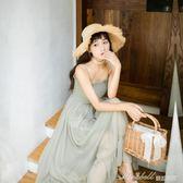 壓褶吊帶溫柔很仙的收腰法國小眾雪紡洋裝中長女chic  蜜拉貝爾