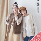 背心 QQ毛麂皮絨雙口袋包邊外搭罩衫-BAi白媽媽【191145】