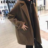 雙十二狂歡 2018新款毛呢外套男中長款冬季落肩男士韓版呢子寬鬆英倫風大衣 艾尚旗艦店