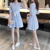 中大尺碼 新款女韓版小清新藍色條紋收腰a字學院風時尚短袖洋裝 DN9425【Pink 】