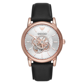 EMPORIO ARMANI 時光齒輪機械腕錶-黑X玫瑰金