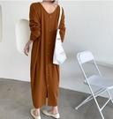 長袖洋裝連身裙東大門韓國chic設計款裙擺開叉後背單排扣紐扣長裙N145A1.90021號公館