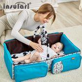 大容量外出單肩斜跨包寶寶嬰兒床