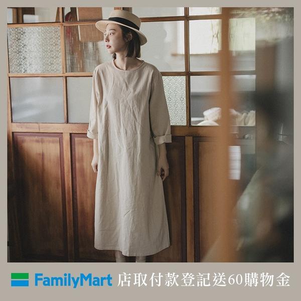 【領券免運】QUEENSHOP【01085113】側口袋造型圓領寬版棉麻洋裝*現+預*