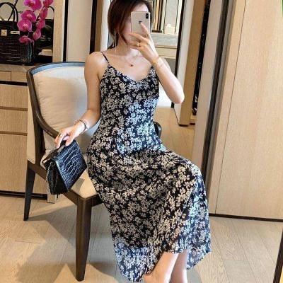 洋裝~日系碎花連身裙早女裝法式復古吊帶優雅氣質連身裙女2F054-D胖妞衣櫥