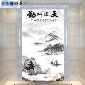 新中式水墨山水玄關過道背景墻壁紙走廊裝飾畫3D花鳥壁畫無縫墻布