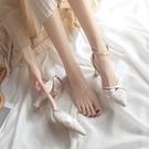 粗跟涼鞋女夏2021年春季新款仙女風中跟包頭一字式扣帶少女高跟鞋
