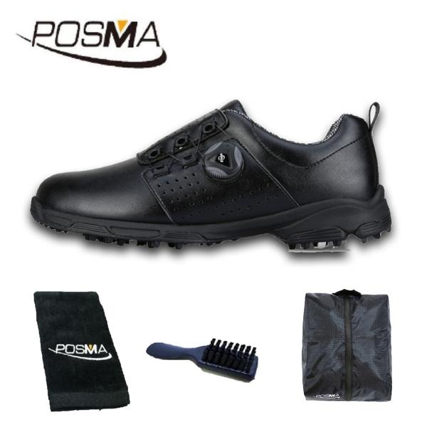 高爾夫男士球鞋 防水 透氣 旋轉鞋帶球鞋 防滑鞋釘 GSH096BLK