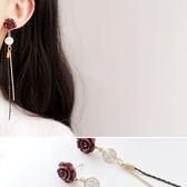 耳環 森林系 花朵 鑲鑽 吊墜 流蘇 氣質 耳環【DD1709141】 ENTER  11/30