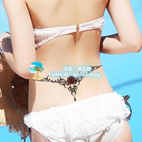 2張紋身貼防水女持久花臂藝妓韓國性感腹部遮疤大腿手臂仿真刺青紋身貼紙【風之海】