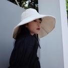 日系大帽檐純色漁夫帽女夏可折疊太陽帽防曬...