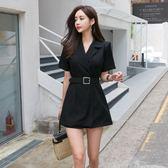 VK旗艦店 韓系時髦OL西裝連身褲套裝短袖褲裝