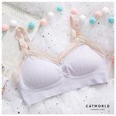 Catworld 乾燥花系。無縫無鋼圈蕾絲邊哺乳內衣(淺紫)【18804036】‧M-XL