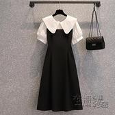 大碼洋裝 大碼女裝夏季新款胖妹妹遮肚子顯瘦a字長款法式娃娃領洋裝 衣櫥秘密