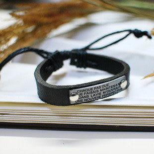 金屬牌鉚釘單層牛皮手帶 情侶飾品 皮手鏈