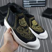 歐洲站冬季新款男鞋短靴工作靴馬丁靴刺繡套筒鬆糕鞋加絨雪地靴潮