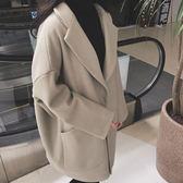 大衣 大口袋 翻領 毛呢 開襟 長大衣 長袖 外套【MYH771】 BOBI  01/11