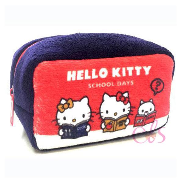 日本 凱蒂貓 HELLO KITTY 絨毛零錢包 深藍 ☆艾莉莎ELS☆