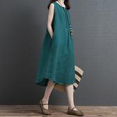 文藝洋裝 2020夏裝新款文藝複古寬鬆大碼顯瘦無袖背心裙舒適休閒棉麻洋裝 店慶降價
